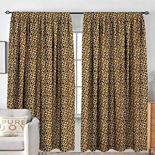 NUOMANAN Decor Waterproof Curtains Leopard Print,Spotty Jungle Safari Feline Print Wild Africa Inspiration Tile Pattern,Orange Black,Blackout Draperies for Bedroom Living Room 120