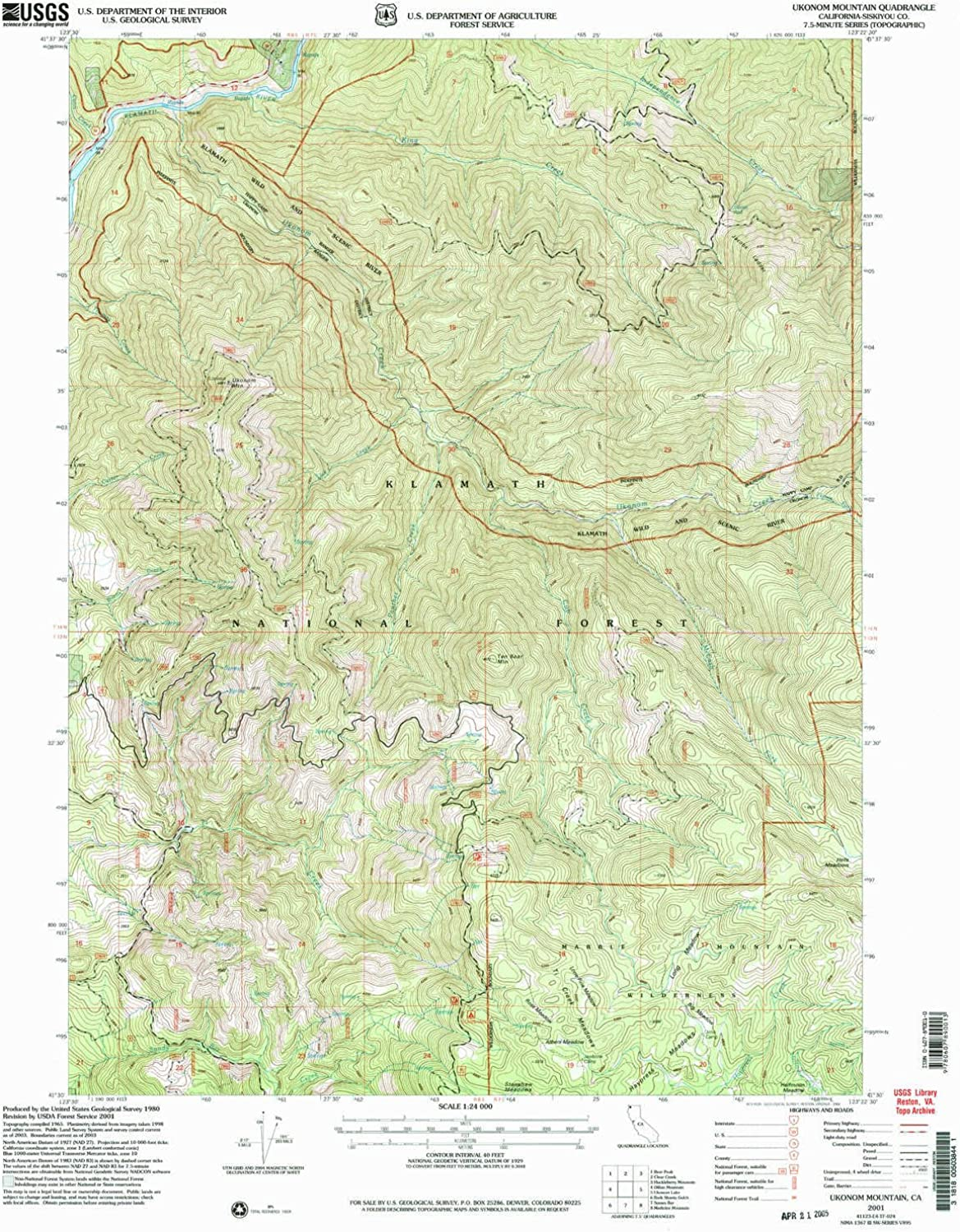 Ukonom Mountain CA topo map, 1 24000 Scale, 7.5 X 7.5 Minute, Historical, 2001, Updated 2004, 26.7 x 21.4 in