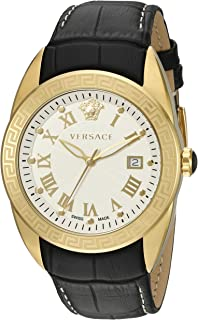 Men's VFE130015 V-SPORT Gold-Tone Stainless Steel Watch With Black Leather Band