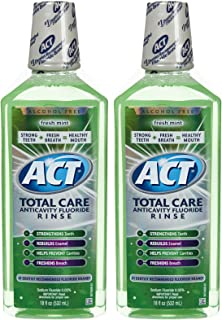 ACT Total Care Anticavity Fluoride Mouthwash-Fresh Mint-18 oz, 2 pk by ACT