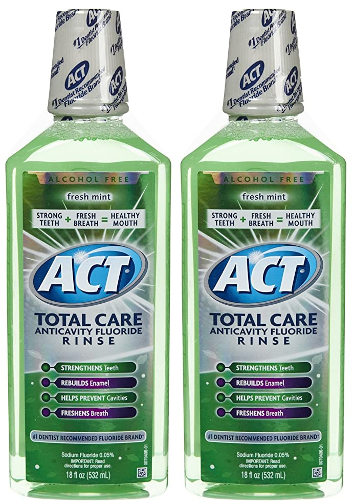 断線養う不運ACT Total Care Anticavity Fluoride Mouthwash-Fresh Mint-18 oz, 2 pk by ACT
