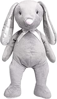 "FAO Schwarz 12"" Floppy Bunny Plush in Gray with White Satin Bow and Stars Pattern Feet and Ears, Ultra Soft and Snuggly Rabbit Doll for Kids, Spring, and Easter"