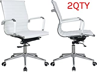 Classic Replica mid Back Office Chair - stabilizing Swivel bar and Knee tilt with tensioner knob (White, Pack of 2)