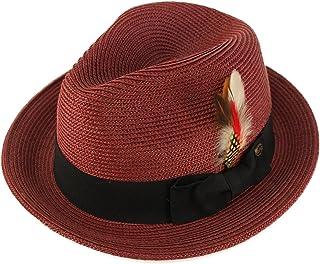 Epoch Men s Handsome Feather Derby Fedora Tall Crown Upturn Curl Brim Hat 526aa5c83c19