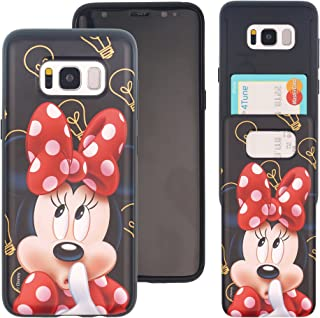 Galaxy S8 Case Cute Slim Slider Cover : Card Slot Shock Absorption Shockproof Double Layer Protective Holder Heavy Duty Bumper for Galaxy S8 (5.8inch) Case - Idea Minnie Mouse