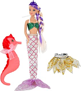 Best Mermaid Doll, Mermaid Fairy Princess Fashion Doll with Hair, Seahorse Toy and Crown Reviews