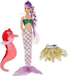 Mermaid Doll, Mermaid Fairy Princess Fashion Doll with Hair, Seahorse Toy and Crown