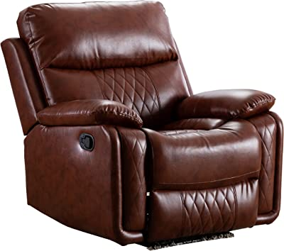 Ottomanson Soft Faux Leather Recliner Manual Single Sofa Home Theater Chair, Brown