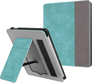 CaseBot Stand Case for All-new Kindle Oasis (10th Generation, 2019 Release and 9th Generation, 2017 Release) - Premium PU Leather Protective Sleeve Cover with Card Slot and Hand Strap, Turquoise-Brown
