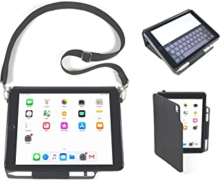 iPad Folio Carry Case with Shoulder Strap for 2018 6th Gen, 2017 5th Gen, 9.7-inch iPad & 9.7-inch Air 1 & 2 from Innovative Care Products -Impact Resistant Professional Grade Rugged Durable iPad Case