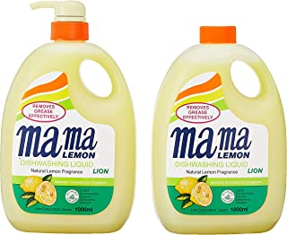 Mama Lemon Dishwashing Liquid, Regular, 1L Banded with 1L Refill
