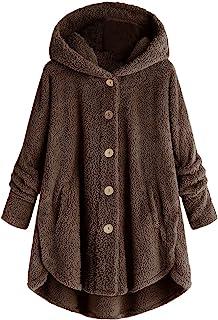 TOTAMALA Chaqueta de invierno cálida para mujer, talla grande, botones de peluche, sudadera con capucha, abrigo suelto de ...