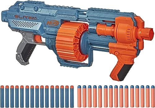 lowest NERF Elite 2.0 Shockwave RD-15 Blaster, 30 2021 Darts, 15-Dart Rotating Drum, Pump-Action, discount Built-in Customizing Capabilities online sale