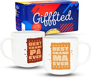 Gifffted Grandparents Mugs, Best Grandma and Grandpa Coffee Mugs, Funny Grandparents Gifts For Christmas Day, grandma and grandpa gift, Set of 2 Cups V2