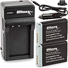 Ultimaxx Rapid Travel Charger with 2X NB-13L Extended Life Battery (1600mAh) for Canon PowerShot SX740 HS; G1 X Mark III; ...