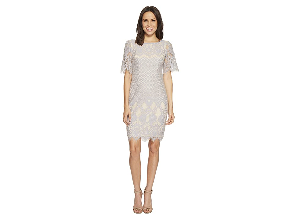 Adrianna Papell Bell Sleeve Georgia Lace Sheath (Sky/Cadmium) Women