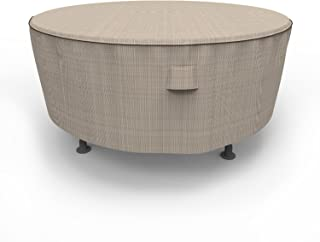 Budge P5A07PM1 English Garden Round Patio Table Cover, Extra Large, Two-Tone Tan