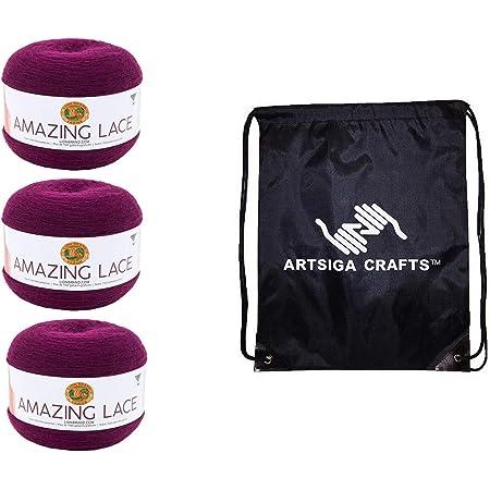 Eggplant Trellis Lion Brand Yarn 213-145 Amazing Lace Yarn Pack of 3 Cakes