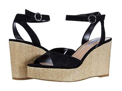 Steve Madden Binx Wedge Sandal (Black Suede) Women