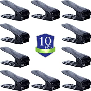 CHAIRLIN Shoe Organizer,Shoe Space Saver Organizers,Shoe Storage Saving,Adjustable Shoes Slots Shoe Rack Set Shoe Holder 10PCS Black