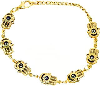 Aeon Design Evil Eye Bracelet-Lapis Stone Bracelet-Good Luck and Blessings-Hamsa Fatima Holy Hand Design with Evil Eye-Evi...