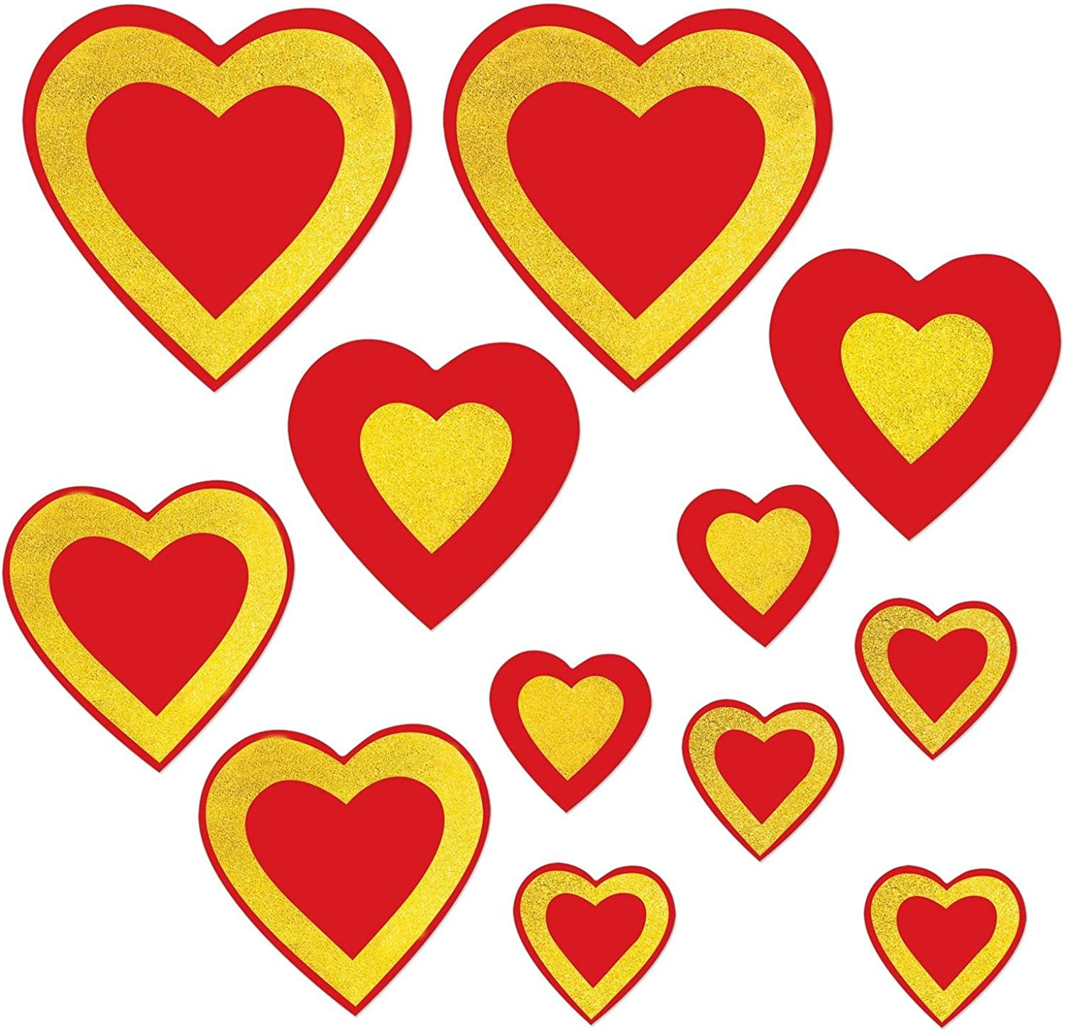Party Central Club Pack of 144 Assorted Red and golden Yellow Glittered Heart Cutouts 12