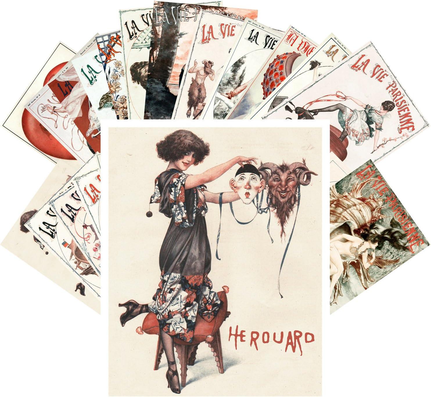 Postcard Pack 24pcs La Vie Save money Pinup Cheri Ranking TOP15 European Parisien Vintage