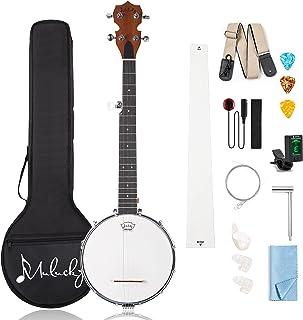 Mulucky 5 String Banjo Mini - 28 Inch Travel Banjo Sapele Body Closed Solid Back Beginner Kit With Gig Bag Tuner Picks Str...