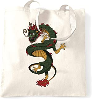Traditional Chinese Tote Bag Serpent Dragon Art White One Size