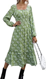 Vershow Womens Casual Retro Square Neck Long Sleeve Printed Dress