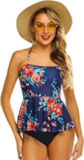 ADOME Tummy Control Tankini Swimsuits for Women 2 Pcs Swimsuit Set Floral Print Ruffle Halter Swimwear