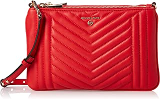 MICHAEL KORS Womens Large Double Pouch Cross body Bag, Bright Red
