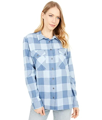 Pendleton Elbow Patch Flannel Shirt (Blue Check) Women