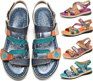 45e85114df8899 Camfosy Sandales Cuir Femmes Plates, Chaussures de Marche Été à Talons  Plats Semelle Confortable Sandales