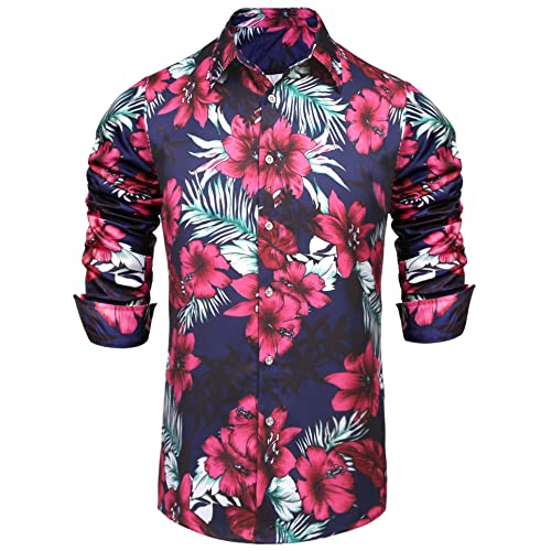 3aac92b8ec5b Pacinoble Men s Flower Casual Button Down Long Sleeve Hawaiian Tropical  Floral Print Shirt