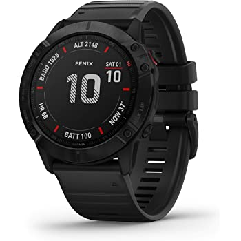 Garmin Carbon-Graphite Fenix 6X Sapphire Carbon Gray DLC with Black Band Wrist-Based Heart Rate¹ and Pulse OX² Sensors Add Insight to Your Fitness Activities