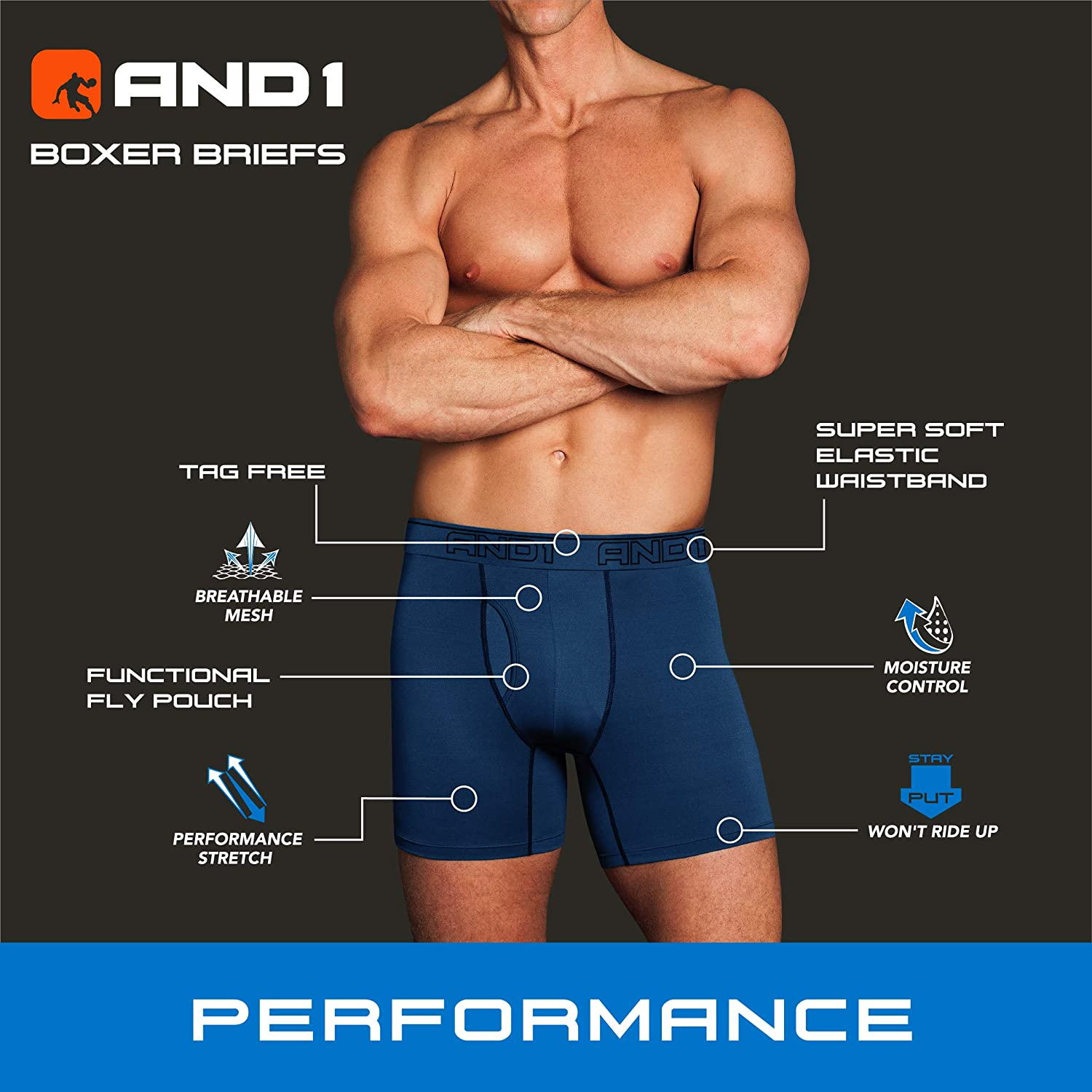 AND1 Men's Underwear - Performance Compression Boxer Briefs with Functional Fly (10 Pack)