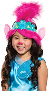 Trolls World Tour Poppy Headband, Troll Child Costume Accessories, Pink Kids Size Movie Character Dress Up Headpiece