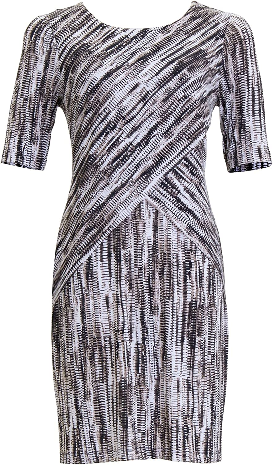 Connected Apparel Womens Beige Printed Short Sleeve Jewel Neck Knee Length Sheath Wear to Work Dress Size 24W