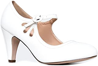 830fb175726f Mary Jane Pumps - Low Kitten Heels - Vintage Retro Round Toe Shoe With  Ankle Strap
