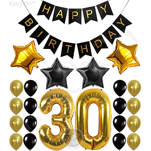 KATCHON 031 Party Decorations Kit Happy Birthday Banner 30th BalloonsGold And Black