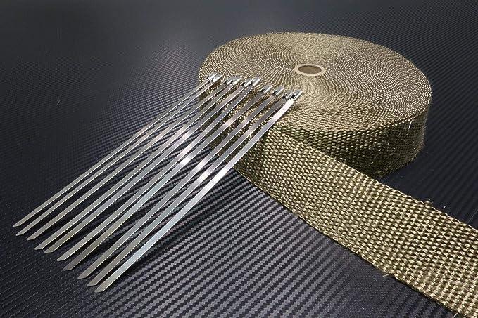 10 Kabelbinder*** Heat wrap Auspuff 20m Hitzeschutzband 50mm schwarz 1000°C