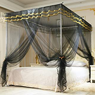 Nattey Simple 4 Corners Post Canopy Bed Curtain for Girls Boys & Adults Gift - 4 Opening - Bedroom Decoration (Queen, Black)