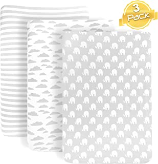 BaeBae Goods Pack n Play Playard Sheets Set | 3 Pack | 100% Super Soft Jersey Knit Cotton (150 GSM) | Portable Mini Crib Mattress Fitted Sheet for Boys & Girls