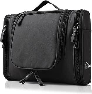 Heavy Duty Waterproof Hanging Toiletry Bag - Travel Cosmetic Makeup Bag for Women & Shaving Kit Organizer Bag for Men - Large Size: 26*11.5*21.5cm (Black)