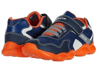 Geox Kids Munfrey 8 (Little Kid/Big Kid) (Navy/Orange) Boy