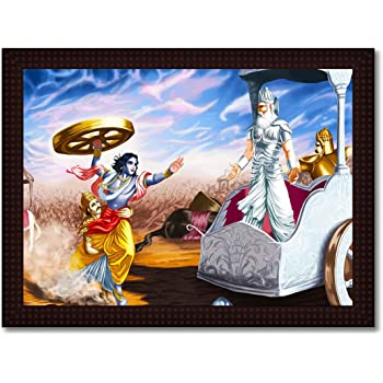 Tamatina Framed Canvas Painting Lord Krishna Attacks Bhishma Pitamah Hd Quality Religious Wooden Texture Frame With
