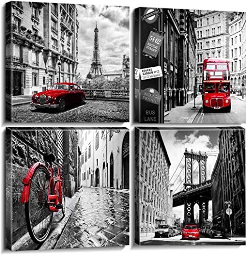 Wall Art Living Room Decor Canvas Print Black White and Red Paris Eiffel Tower Cityscape Pictures for Boys Bedroom Ba...
