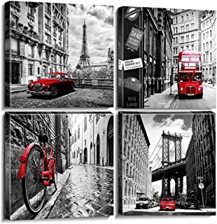 sunfrower Bathroom Modern City Poster Wall Decor Canvas Prints Home Decor Framed Black and White Pictures Red City Buildings Photo Office Paris Artwork Painting Ready to Hang 12 × 12 inches 4pcs