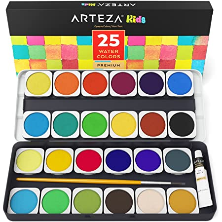 Artecho Metallic Watercolor Painting Set Drawing Pencil for Adults Kids Beginners Artists Students 12 Pretty Colors Watercolor Paint Set with Refillable Brush Sponge